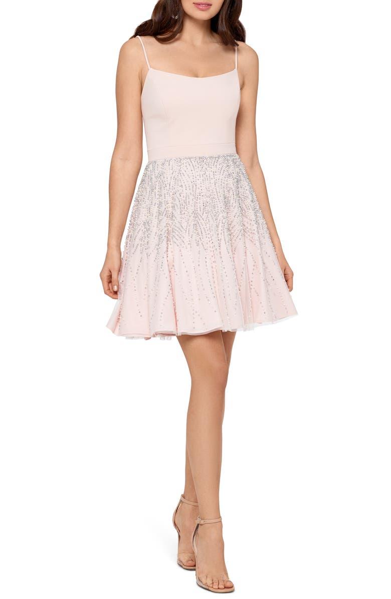 XSCAPE Corset Bodice Party Dress, Main, color, BLUSH/ SILVER/ PEARL