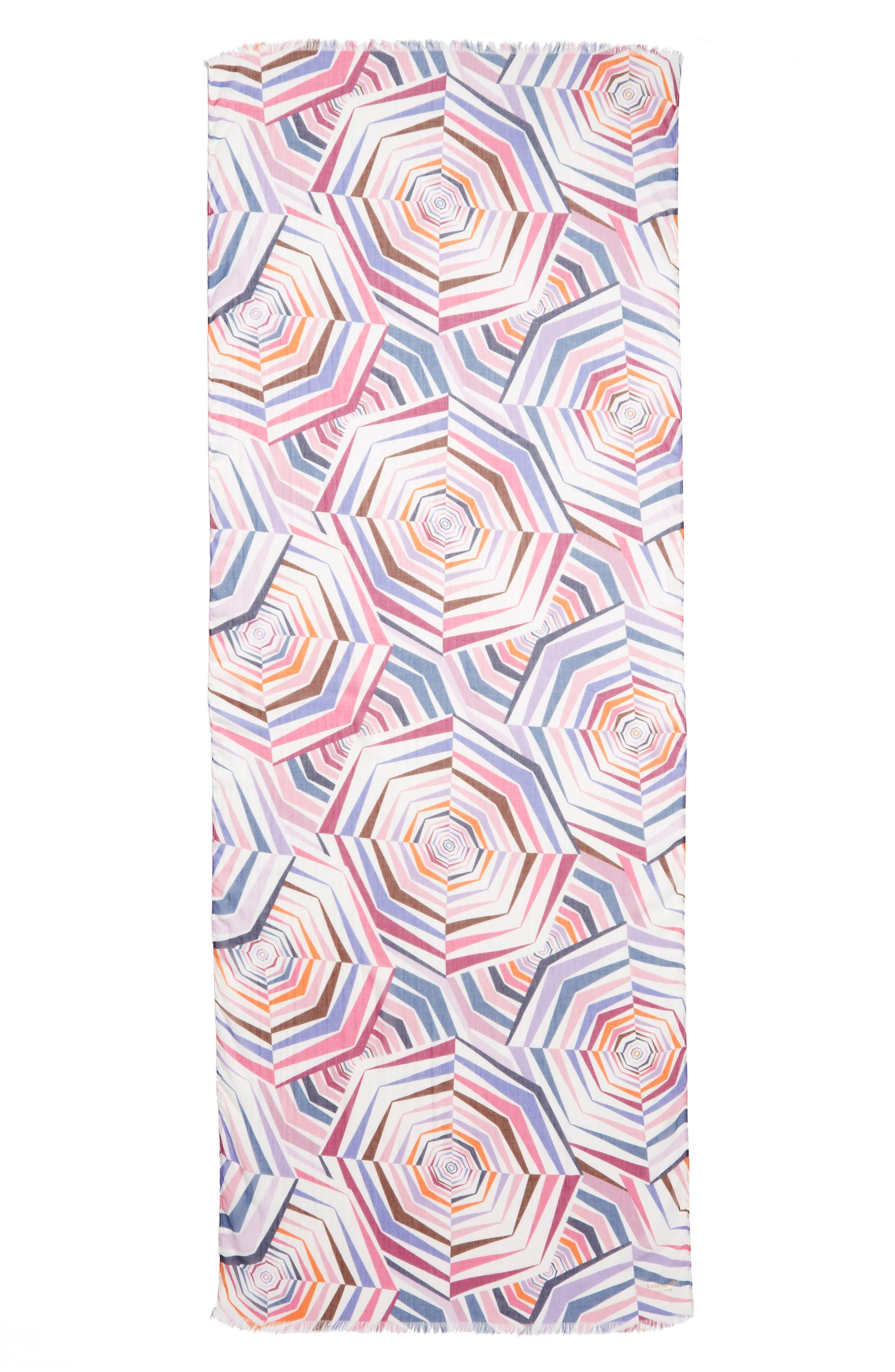 ,                             geobrella print fringe scarf,                             Alternate thumbnail 3, color,                             FRENCH CREAM