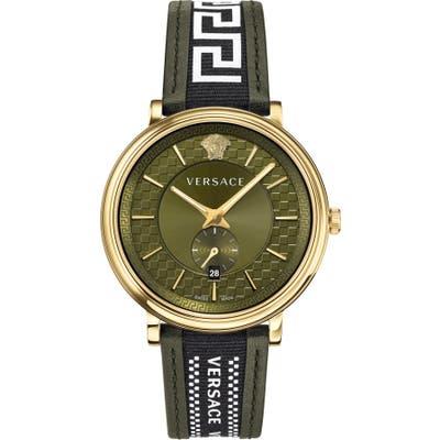 Versace V Circle Greca Leather Strap Watch, 42Mm