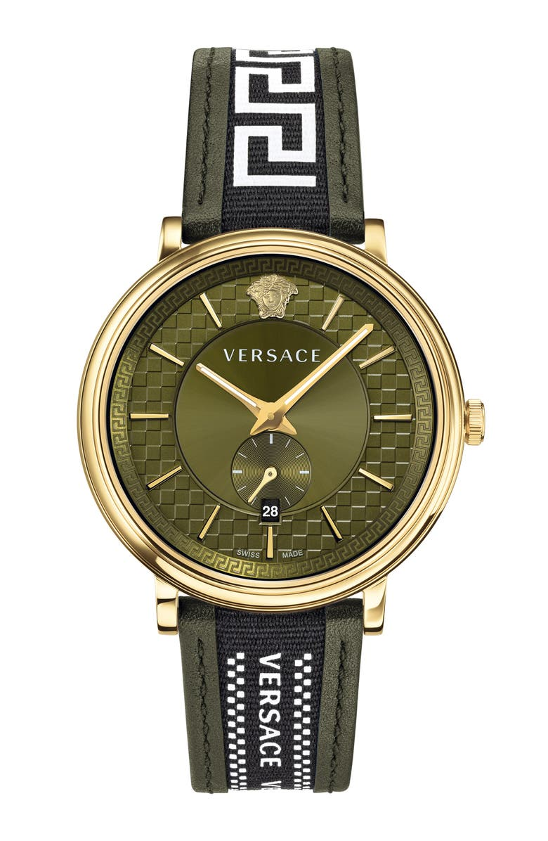 VERSACE V Circle Greca Leather Strap Watch, 42mm, Main, color, GREEN/ GOLD