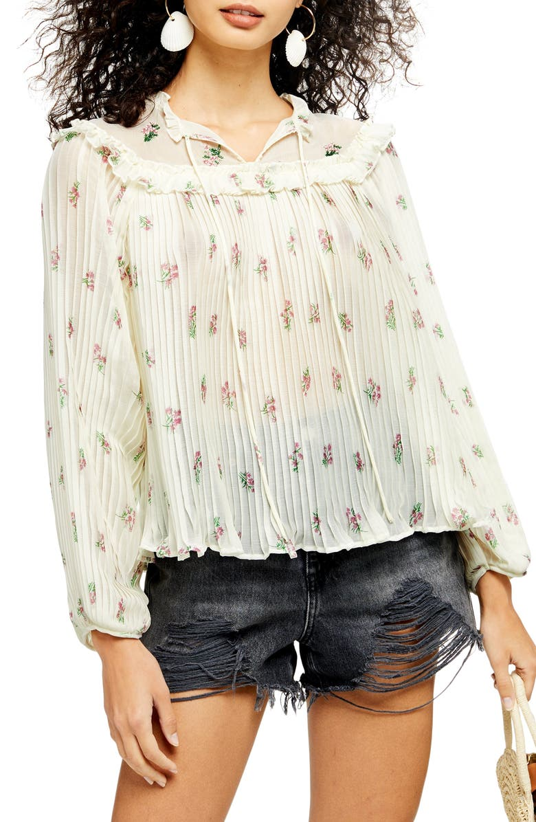 Floral Print Pleated Ruffle Blouse by Topshop