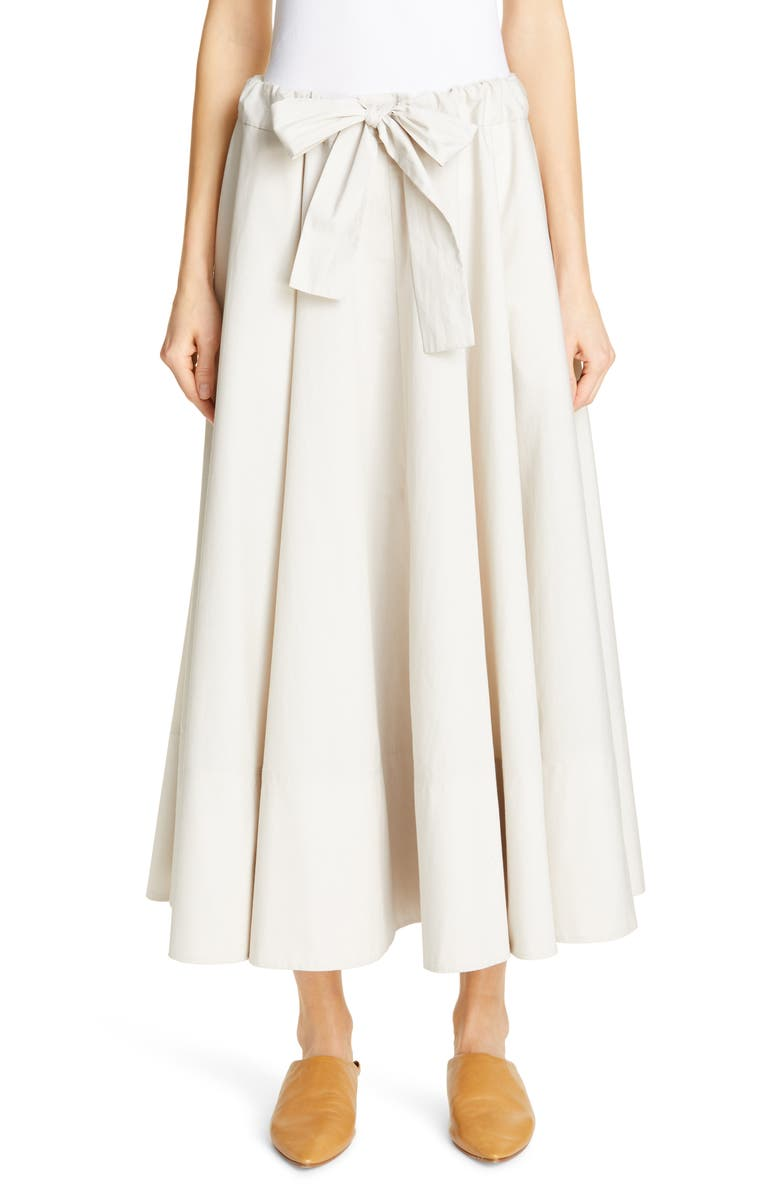 CO Cinch Waist Midi Circle Skirt, Main, color, CHALK