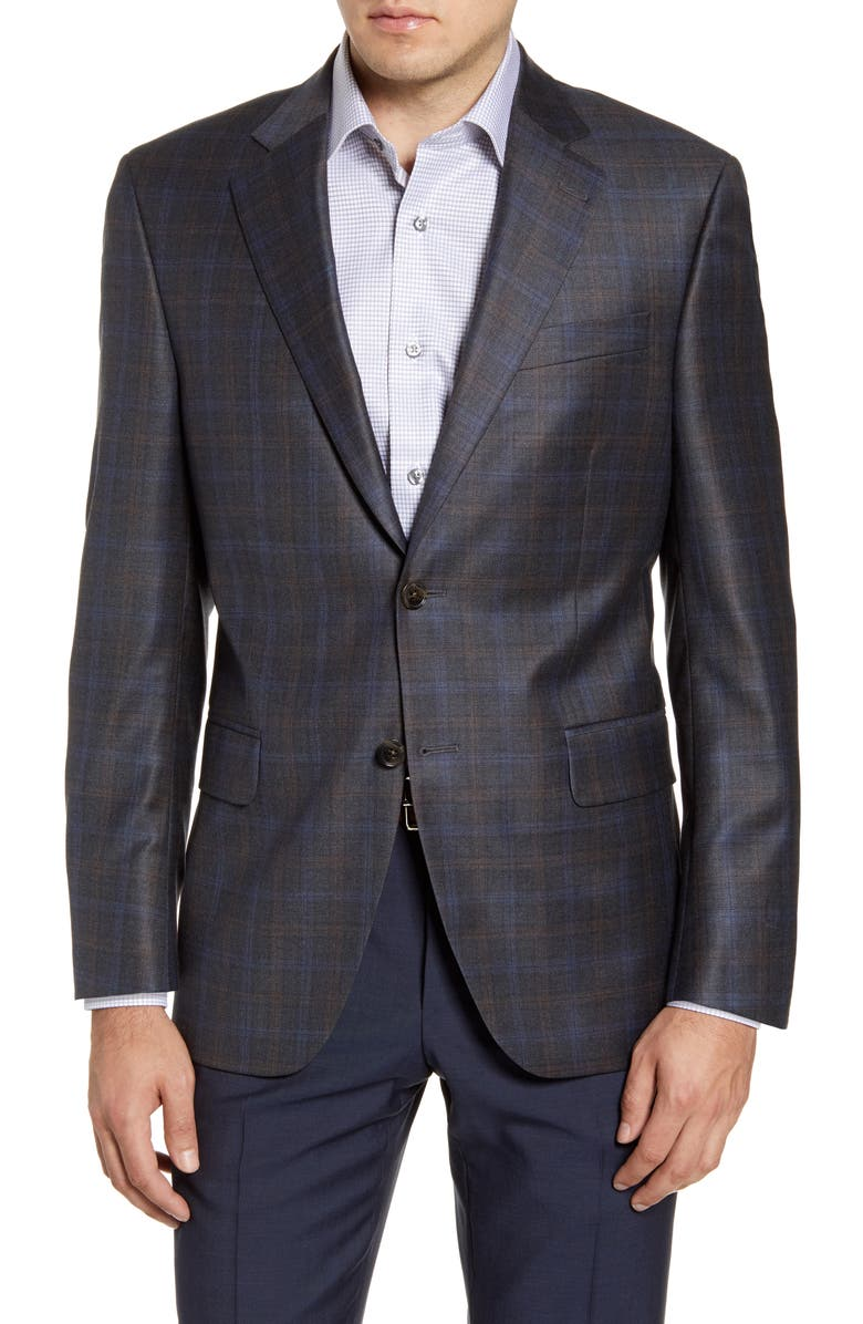 PETER MILLAR Flynn Classic Fit Plaid Wool Sport Coat, Main, color, 020