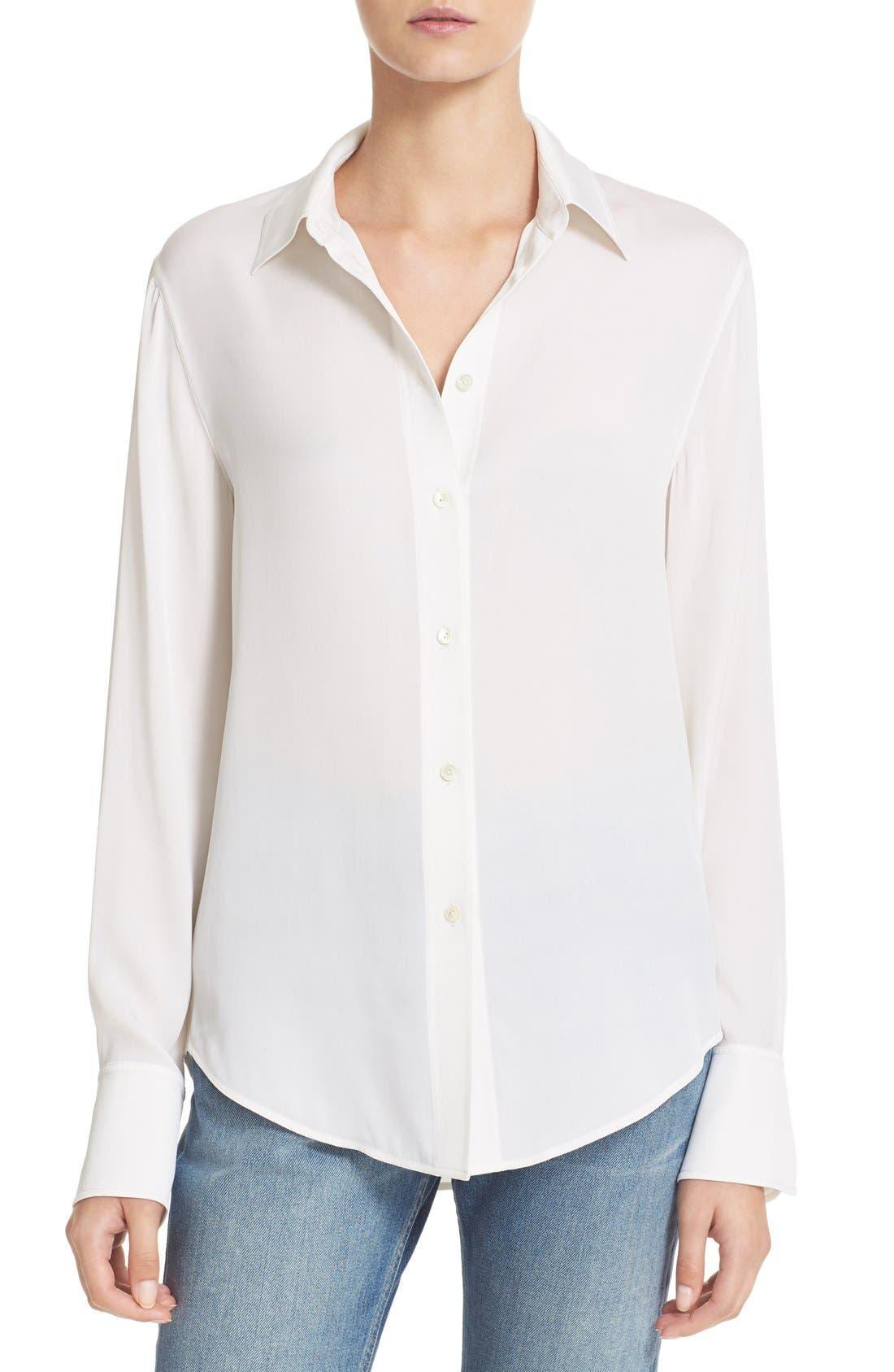 Slim Fit Stretch Silk Blouse, Main, color, 100