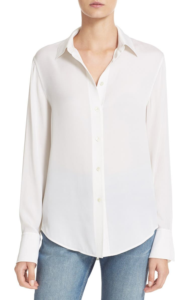 VINCE Slim Fit Stretch Silk Blouse, Main, color, 100
