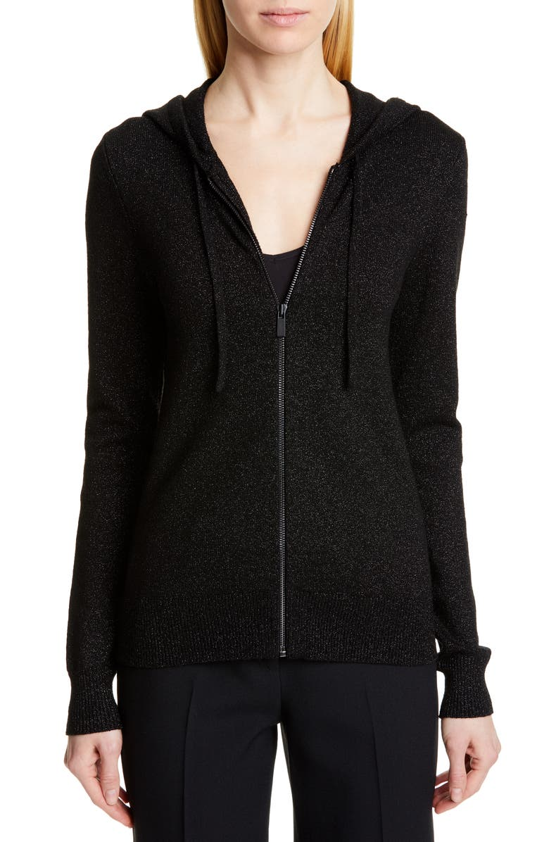 MICHAEL KORS COLLECTION Metallic Hooded Sweater, Main, color, BLACK/ BLACK