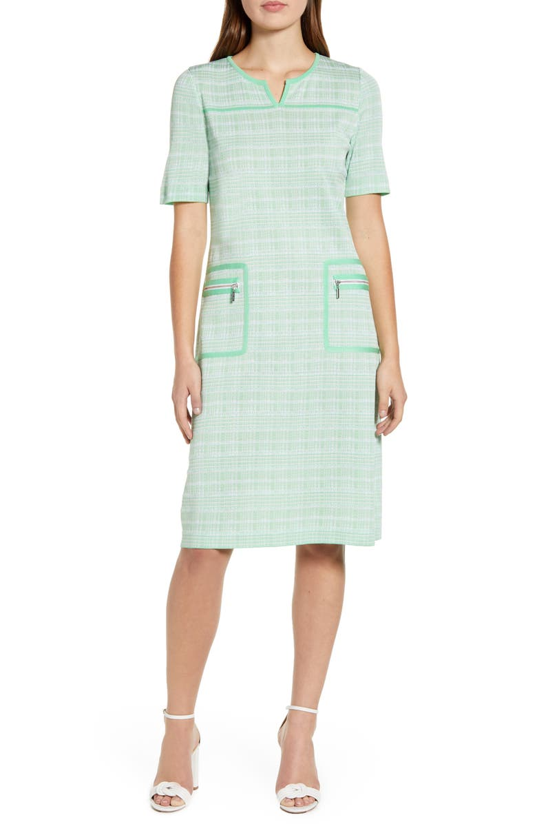 MING WANG Short Sleeve Tweed A-Line Dress, Main, color, G SMITH/ LINEN/ W