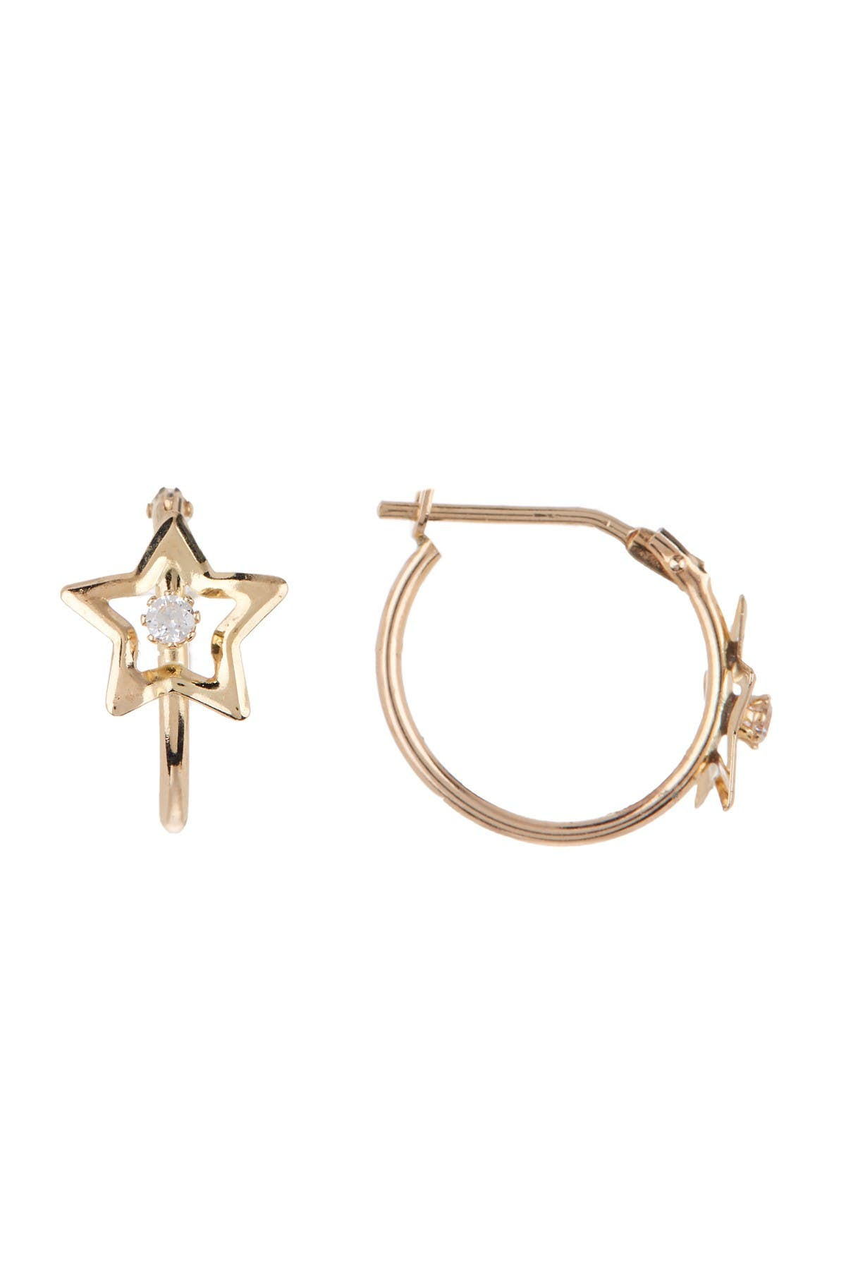 Image of Candela 10K Yellow Gold CZ Star Hoop Earrings