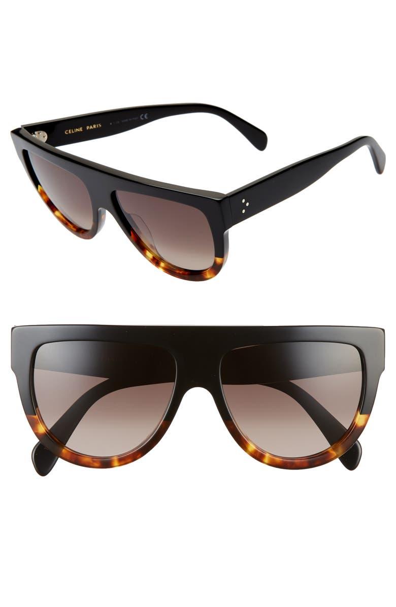 CELINE 58mm Flat Top Sunglasses, Main, color, BLACK/ GRADIENT BROWN