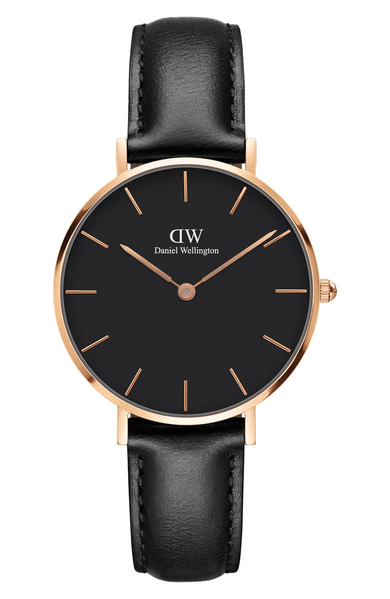 DANIEL WELLINGTON Classic Petite Leather Strap Watch, 32mm, Main, color, BLACK/ ROSE GOLD