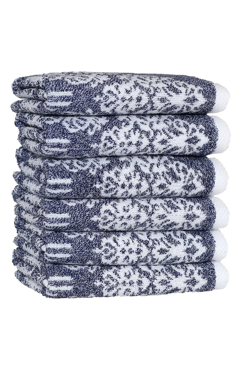 LINUM HOME TEXTILES Linum 'Gioia' Turkish Cotton Washcloths, Main, color, OCEAN BLUE