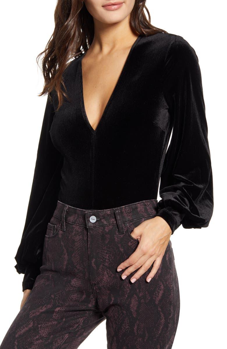 BARDOT Bryony Balloon Sleeve Velvet Bodysuit, Main, color, 001