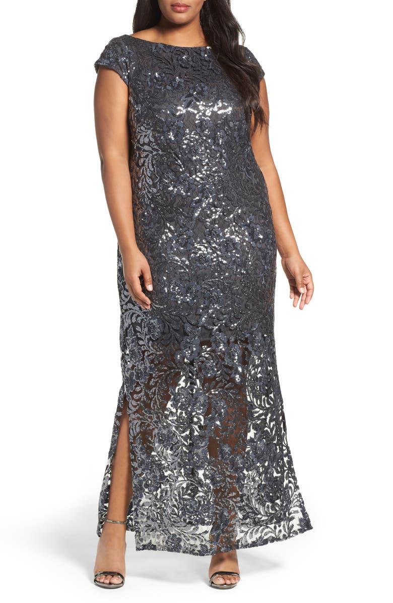 Sequin Lace Column Gown