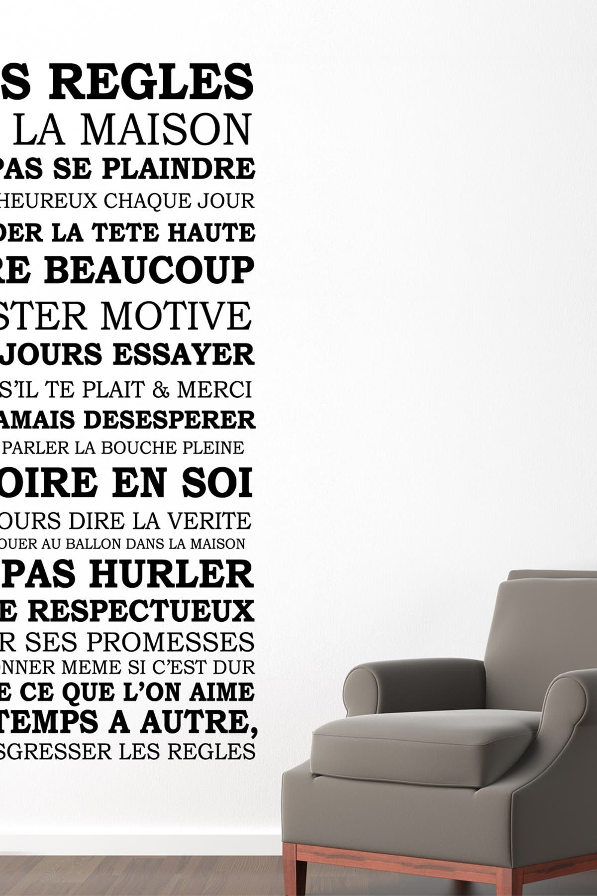 Image of WalPlus French House Rules Quote Wall Sticker