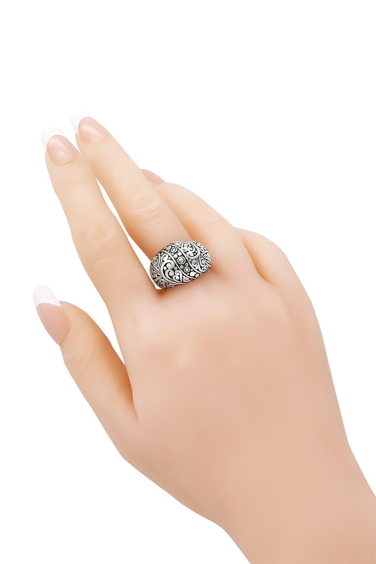 Image of DEVATA Sterling Silver & 18K Gold Filigree Dome Ring