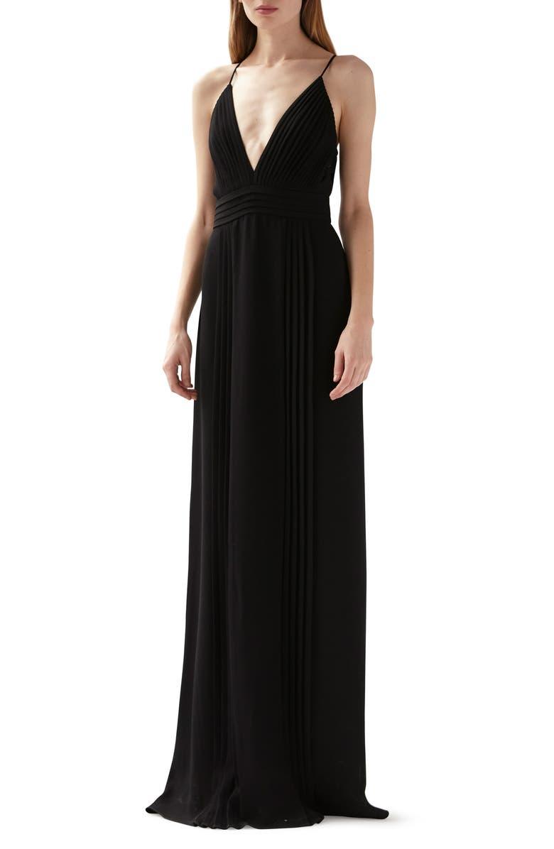 ML MONIQUE LHUILLIER Pleated Gown, Main, color, 001