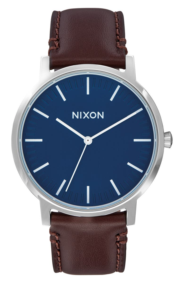 NIXON Porter Round Leather Strap Watch, 40mm, Main, color, BROWN/ NAVY/ SILVER