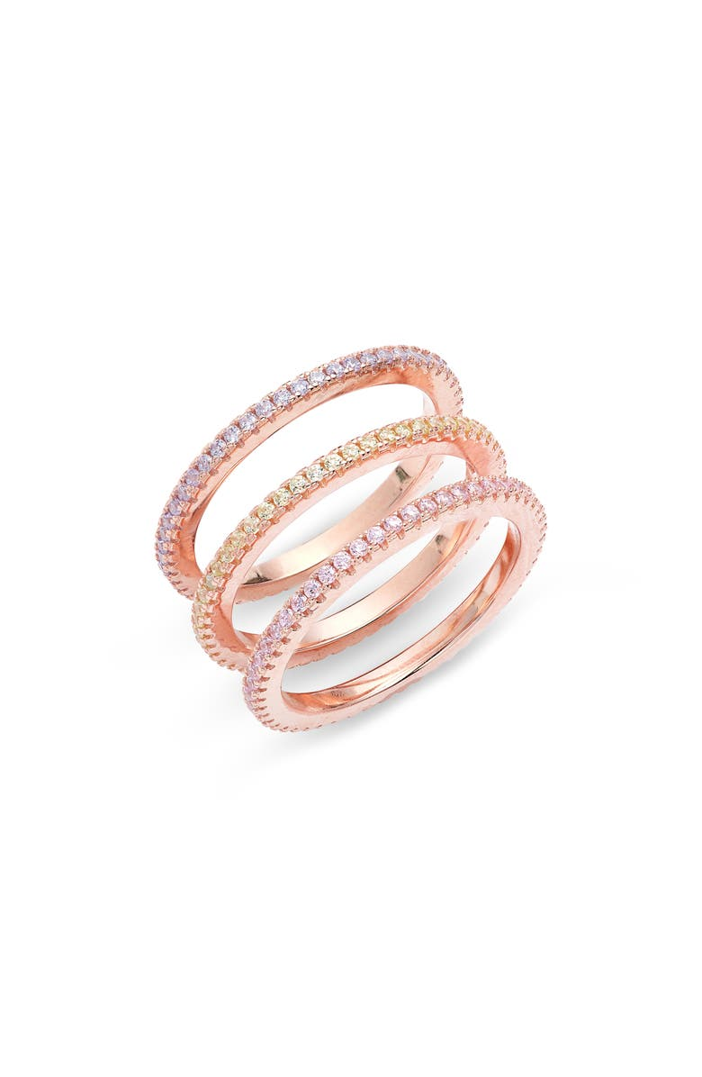 ADINA'S JEWELS Adina's Jewels Set of 3 Pastel Rings, Main, color, MULTI-COLOR