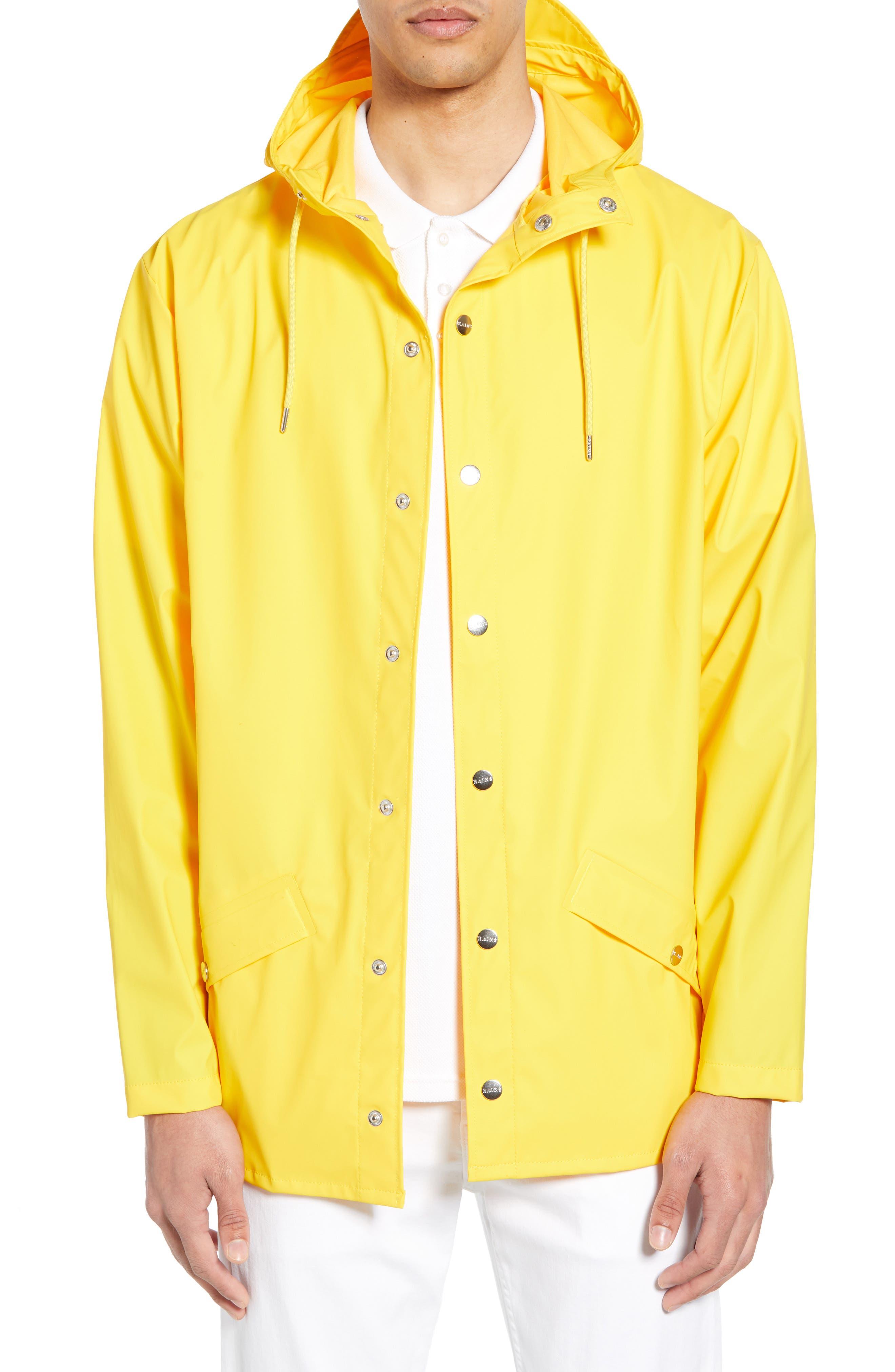 Rains Lightweight Hooded Rain Jacket, Yellow
