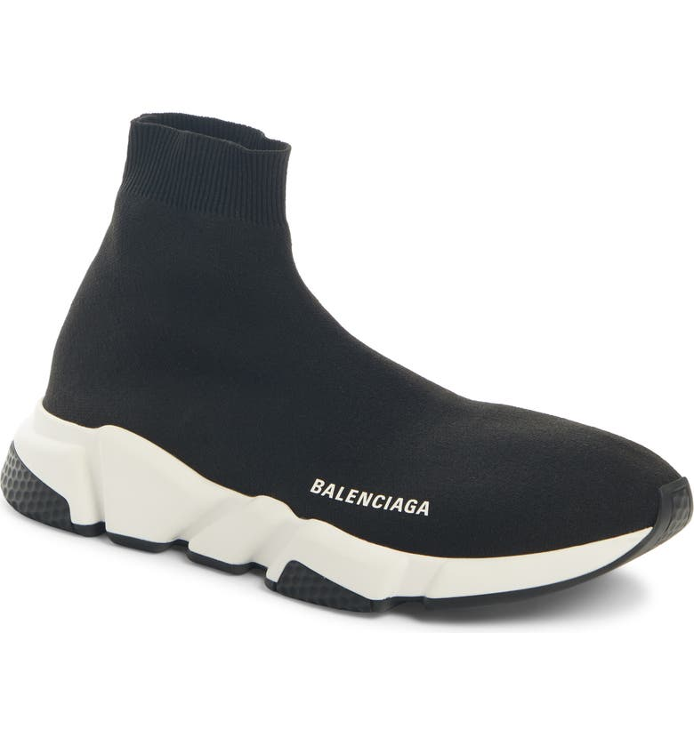 BALENCIAGA Speed High Slip-On, Main, color, BLACK / WHITE / BLACK