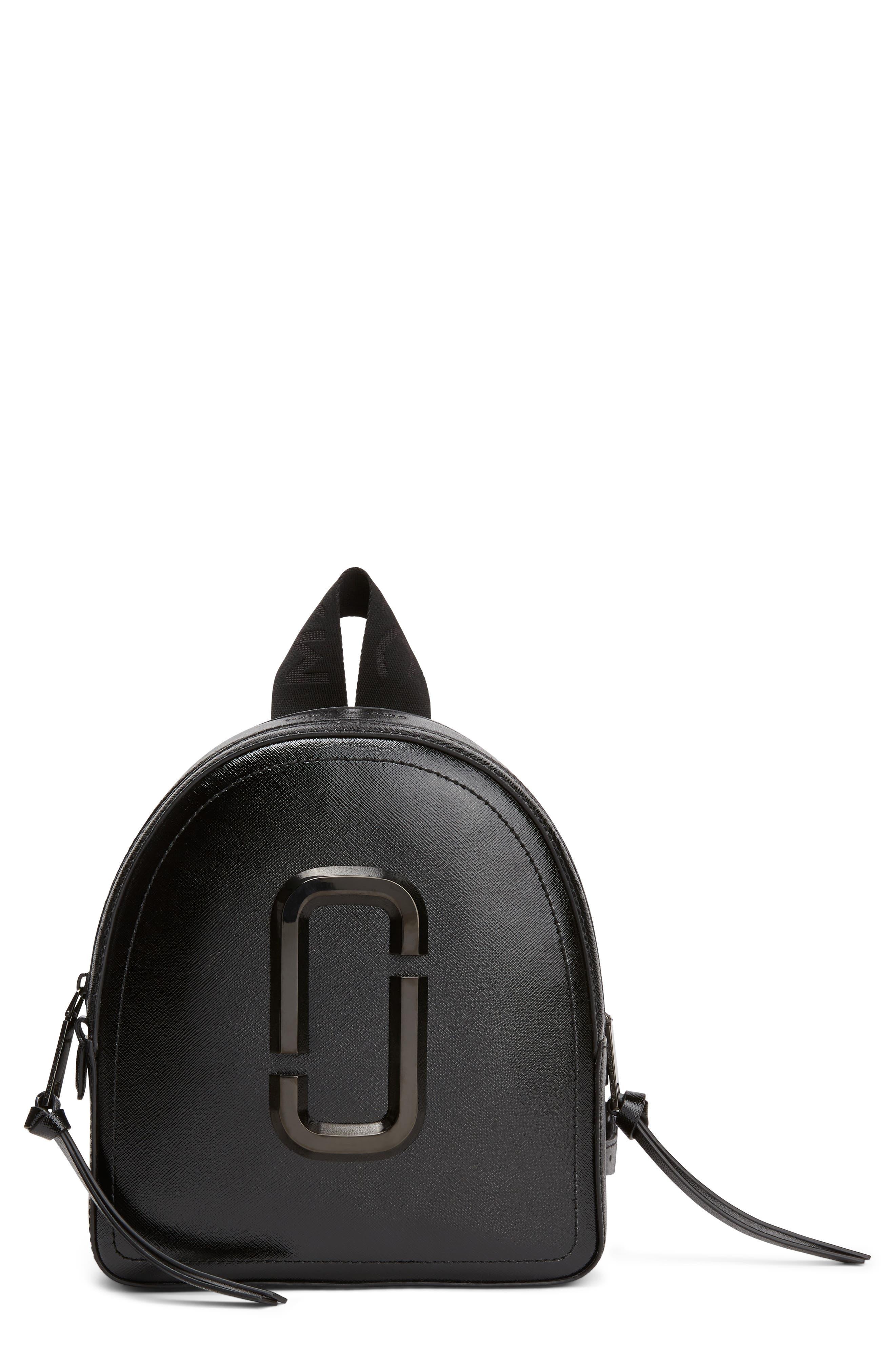 Pack Shot Leather Backpack, Main, color, BLACK