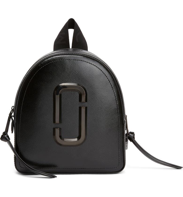 MARC JACOBS Pack Shot Leather Backpack, Main, color, BLACK