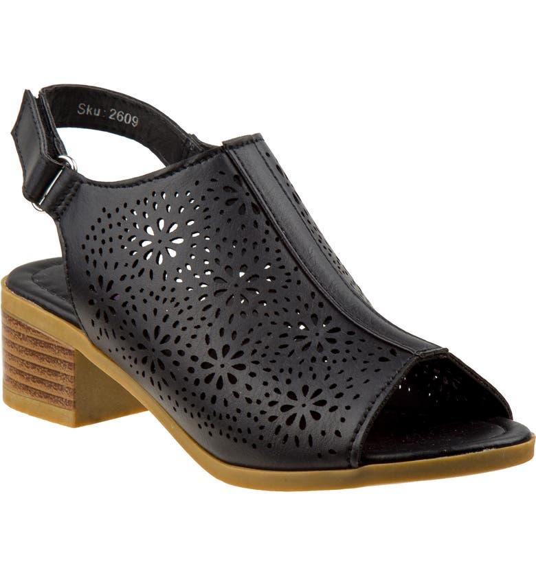 KENSIE GIRL Block Heel Sandal, Main, color, BLACK