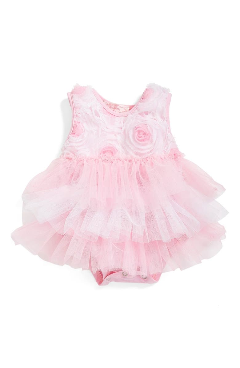 POPATU Ribbon Rosette Ruffle Tier Bodysuit, Main, color, 680
