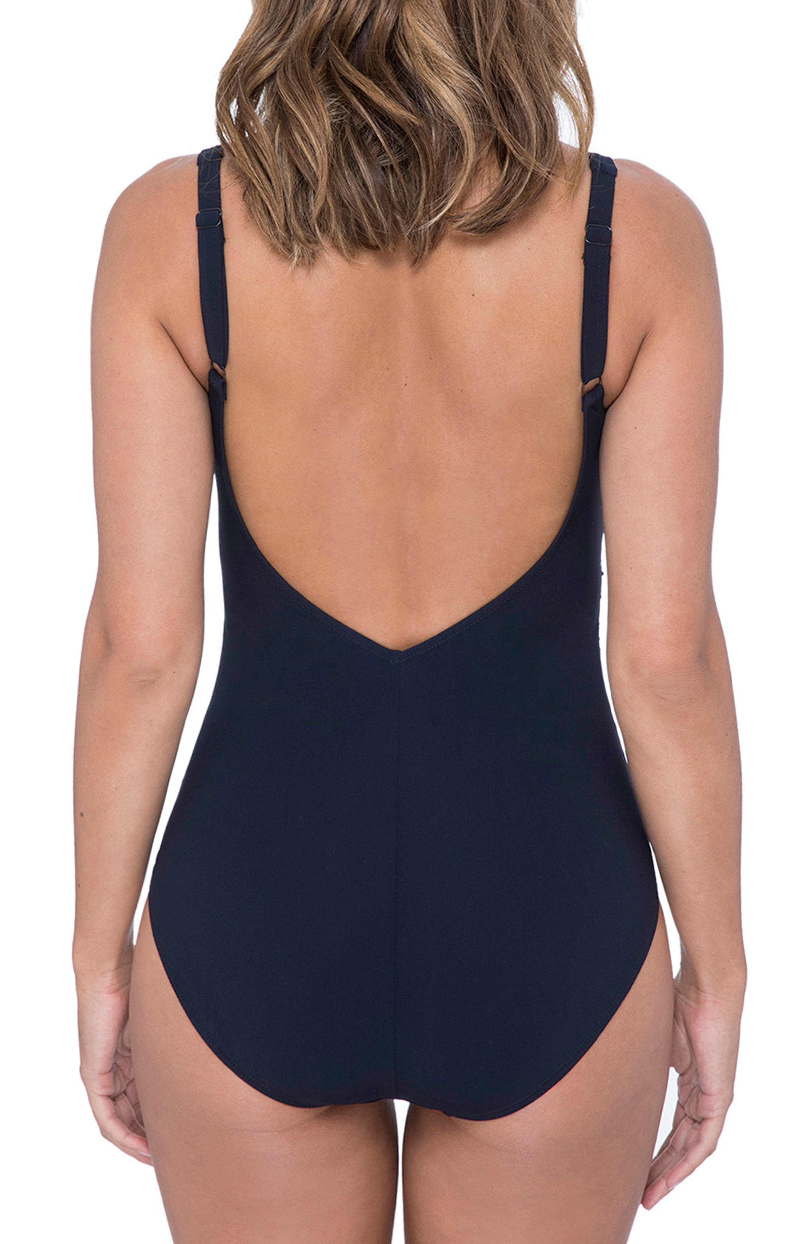 ,                             One-Piece Swimsuit,                             Alternate thumbnail 2, color,                             NAVY