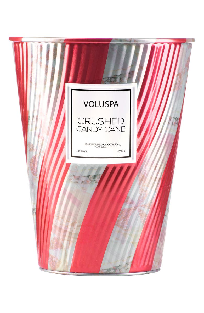 VOLUSPA Crushed Candy Cane Giant Ice Cream Cone Table Candle, Main, color, NO COLOR