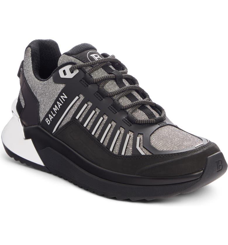 BALMAIN B-Trail Glitter Sneaker, Main, color, BLACK/ SILVER