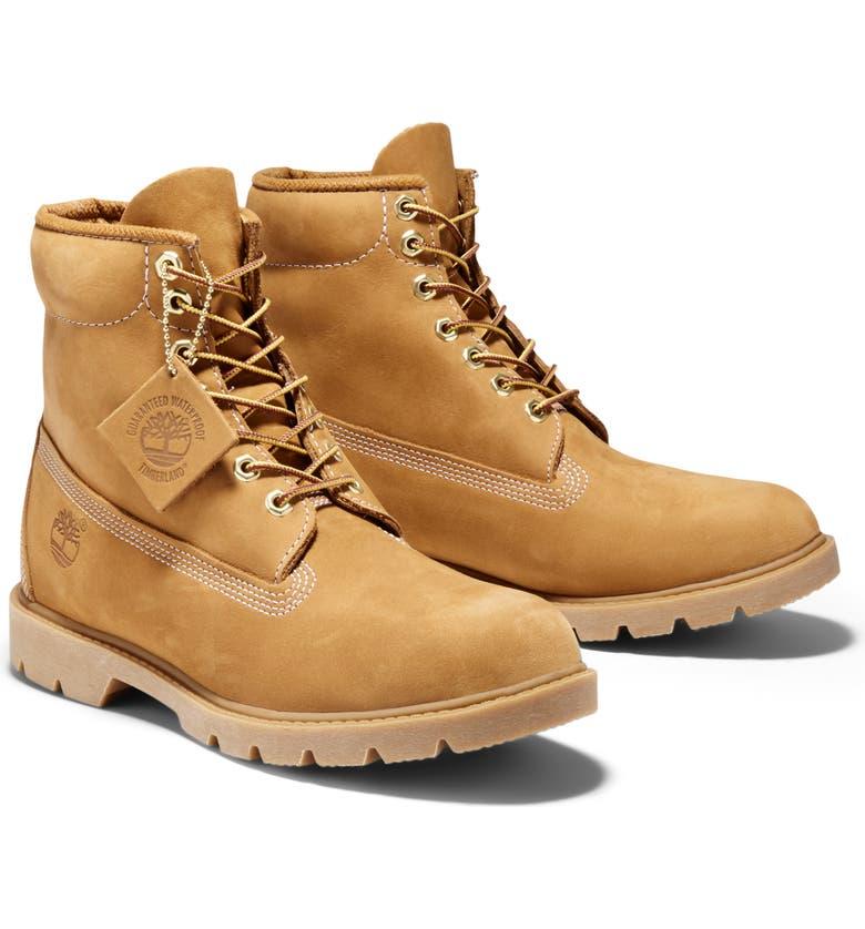 TIMBERLAND 6-Inch Basic Waterproof Plain Toe Boot, Main, color, WHEAT NUBUCK