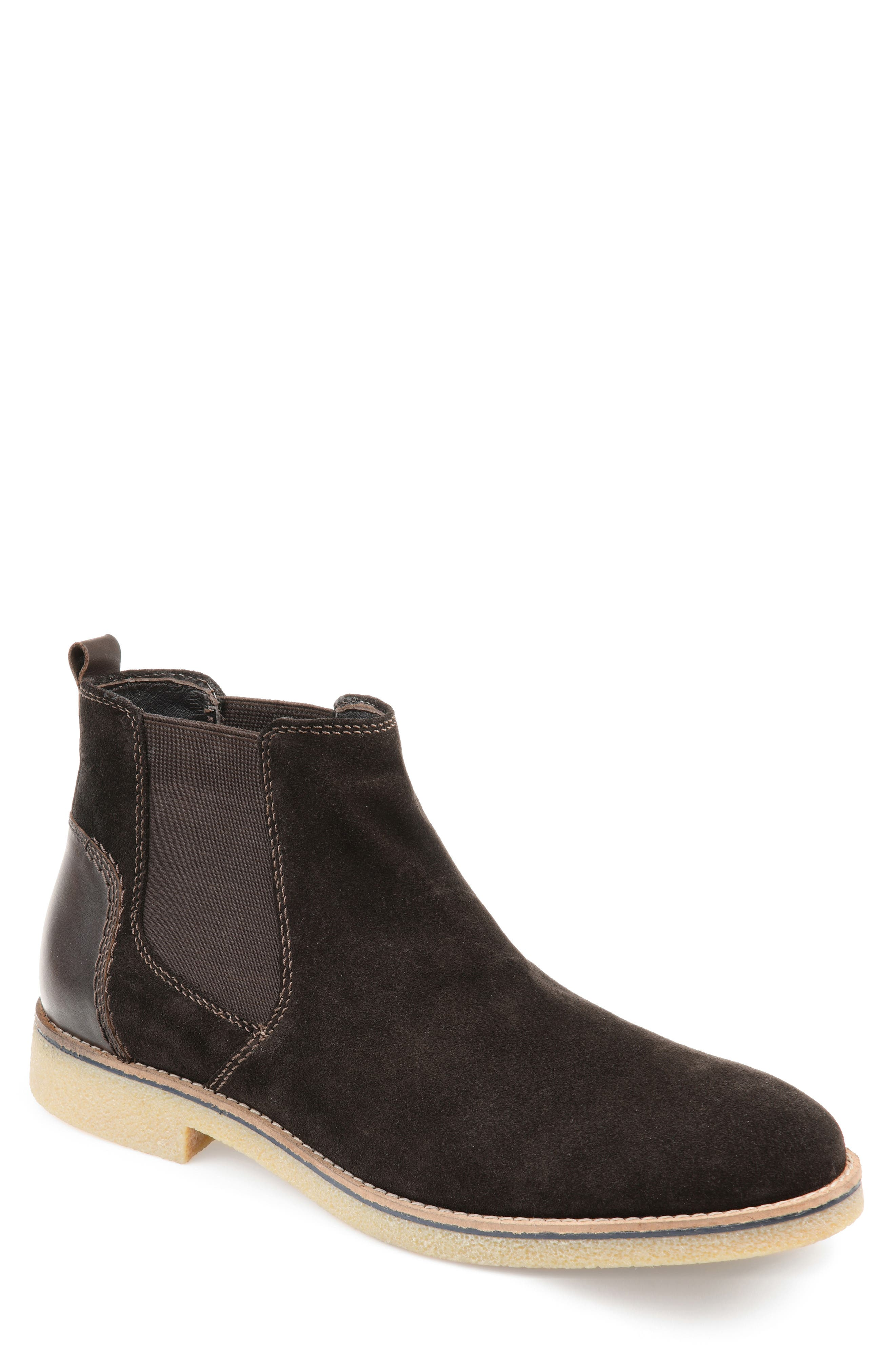 A crepe rubber sole furthers the casual, comfortable attitude of a Chelsea boot cut from soft suede with a deeply gored shaft and a polished patch at the heel. Style Name: Thomas & Vine Hendrix Chelsea Boot (Men). Style Number: 5715649. Available in stores.