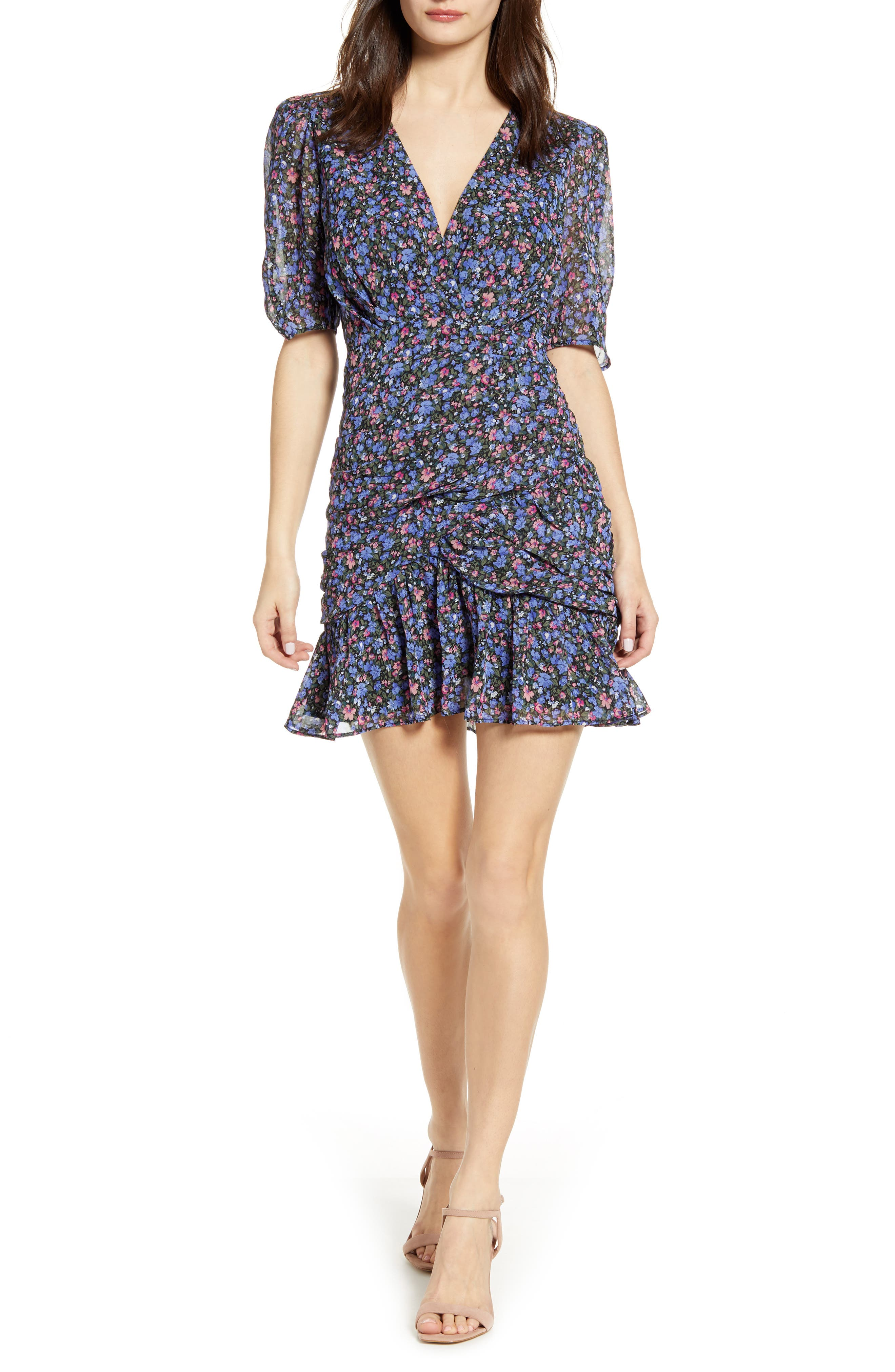 Astr The Label Shirred Minidress, Blue
