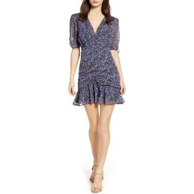 Astr The Label Shirred Minidress, Blue