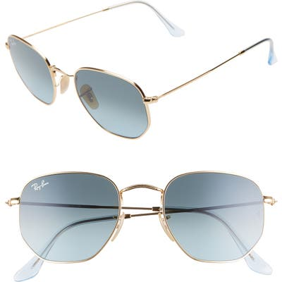 Ray-Ban 51Mm Aviator Sunglasses - Gold/ Blue Gradient