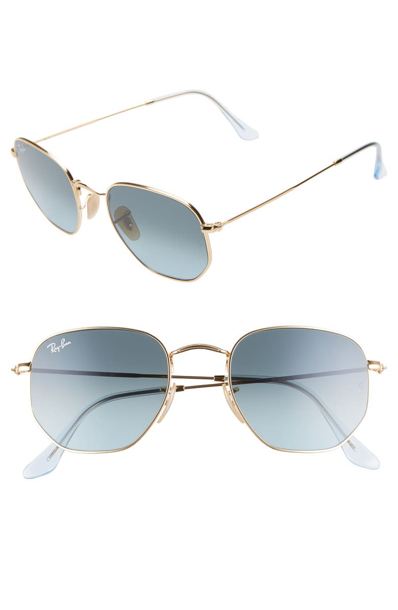 RAY-BAN 51mm Aviator Sunglasses, Main, color, GOLD/ BLUE GRADIENT