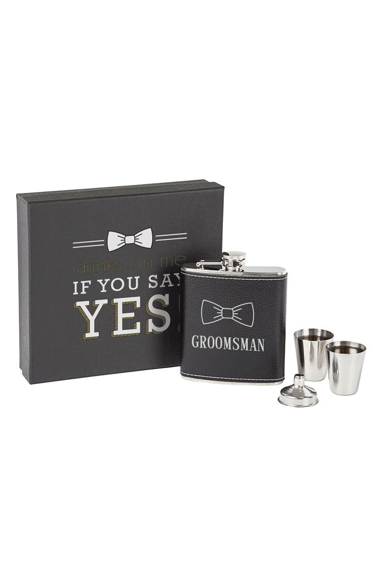CATHY'S CONCEPTS Groomsman Flask Set, Main, color, BLACK