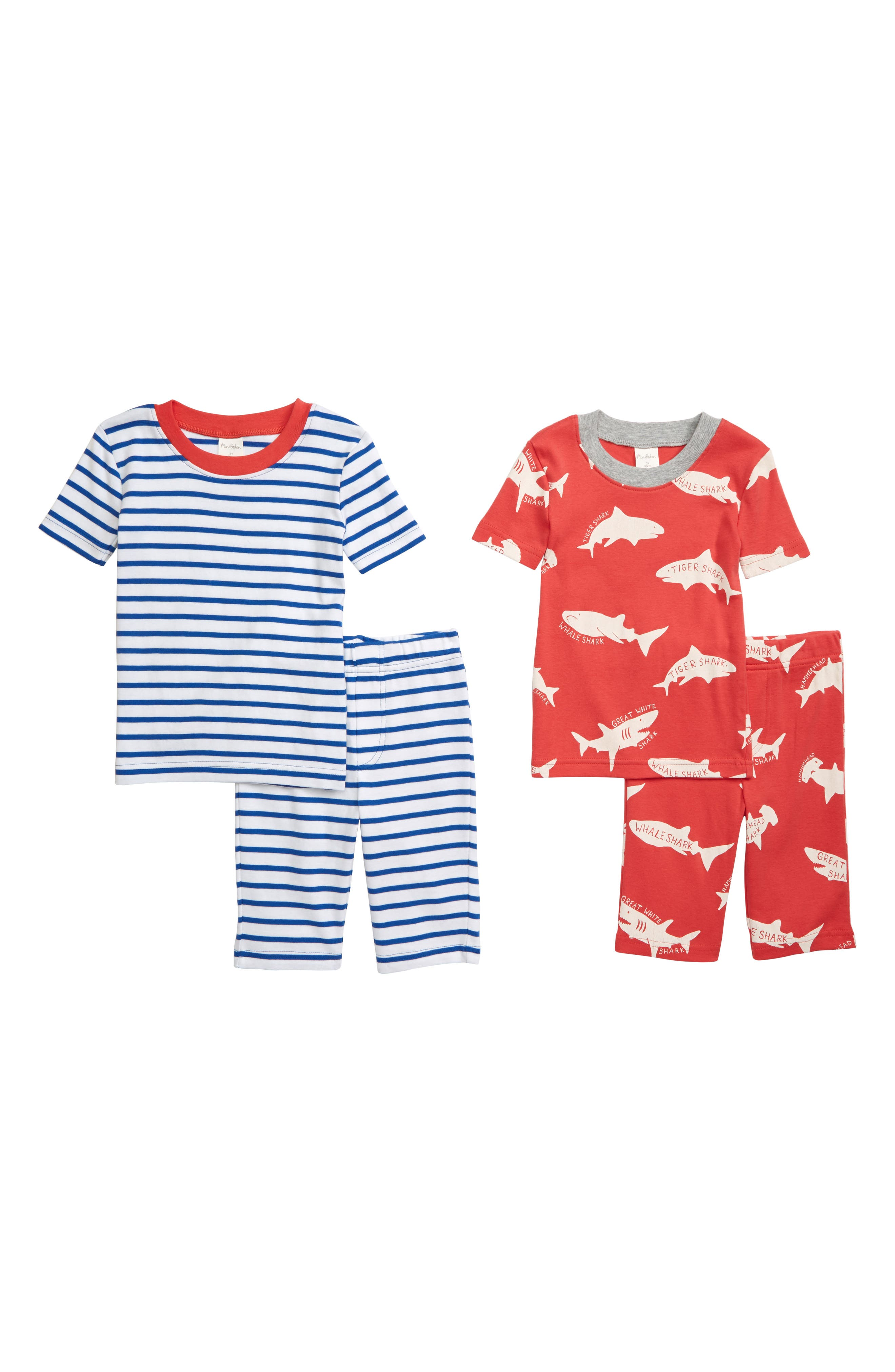 Boys Mini Boden 2Pack Fitted TwoPiece Short Pajamas Size 10Y  Red