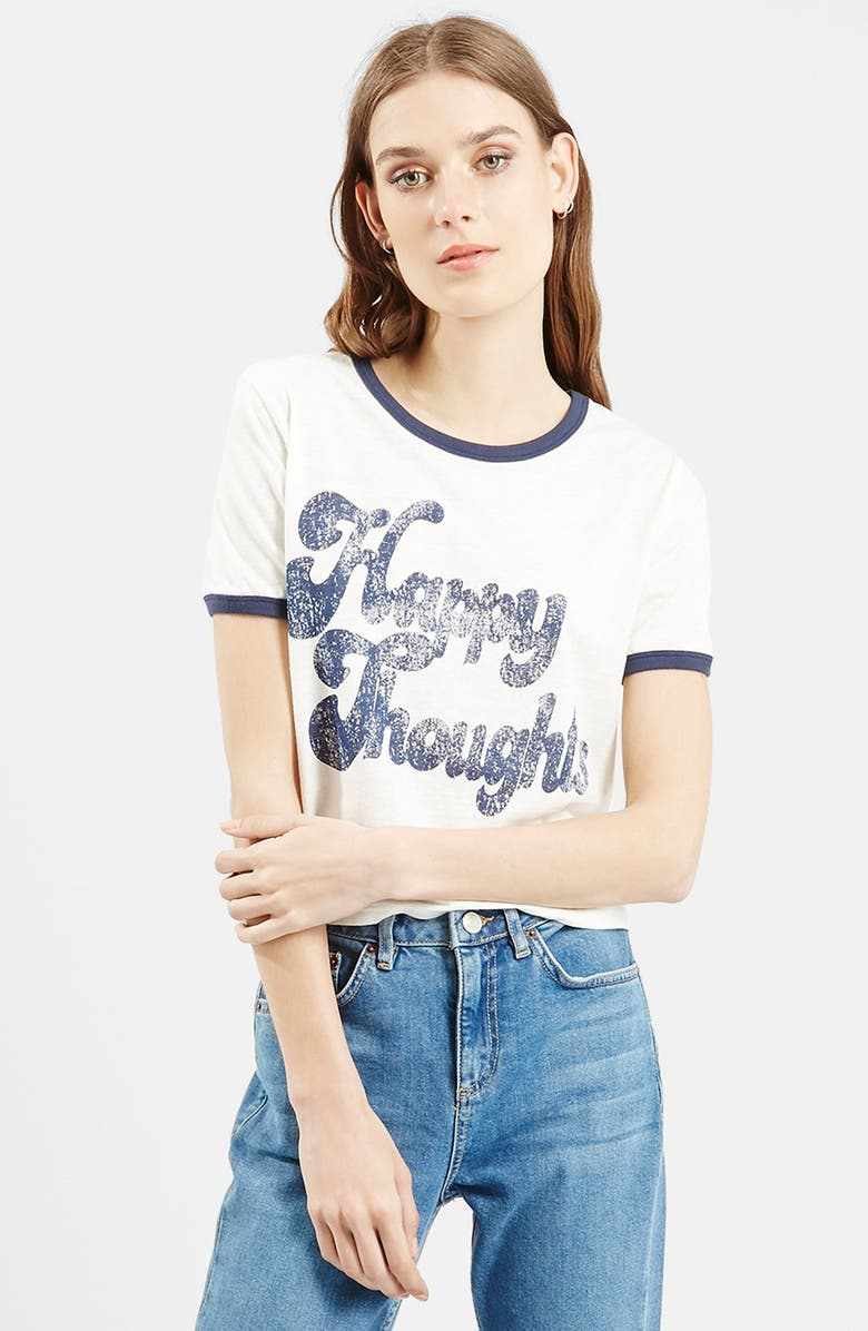 TOPSHOP 'Happy Thoughts' Graphic Tee, Main, color, CREAM MULTI