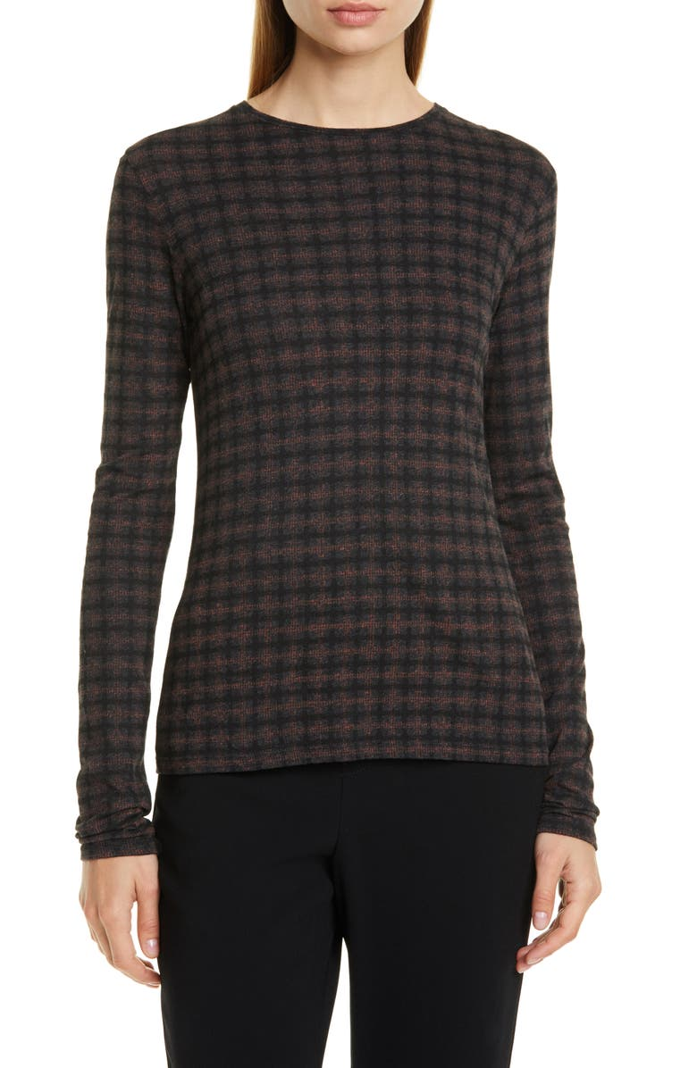 VINCE Check Plaid Long Sleeve Knit Top, Main, color, CHARCOAL