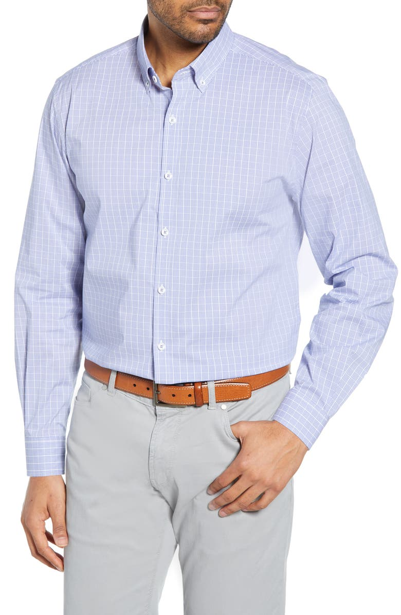CUTTER & BUCK Soar Classic Fit Windowpane Check Shirt, Main, color, CHELAN
