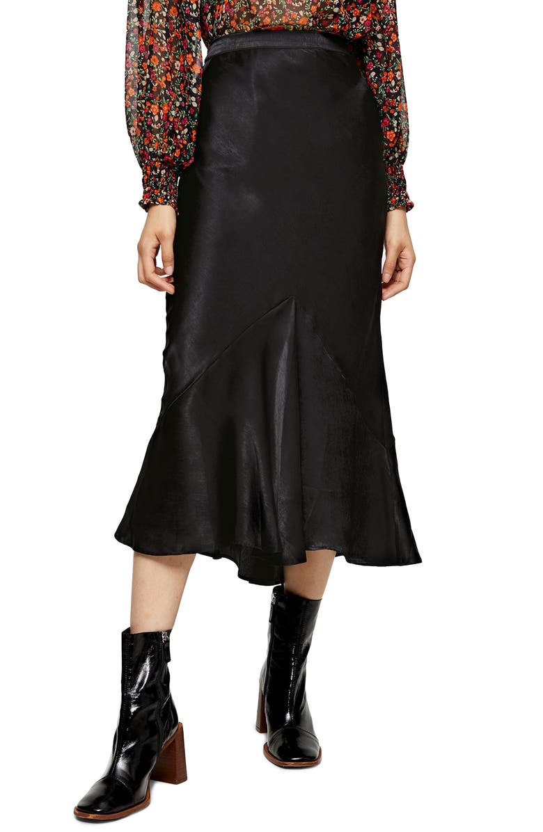 TOPSHOP Flounce Midi Skirt, Main, color, BLACK