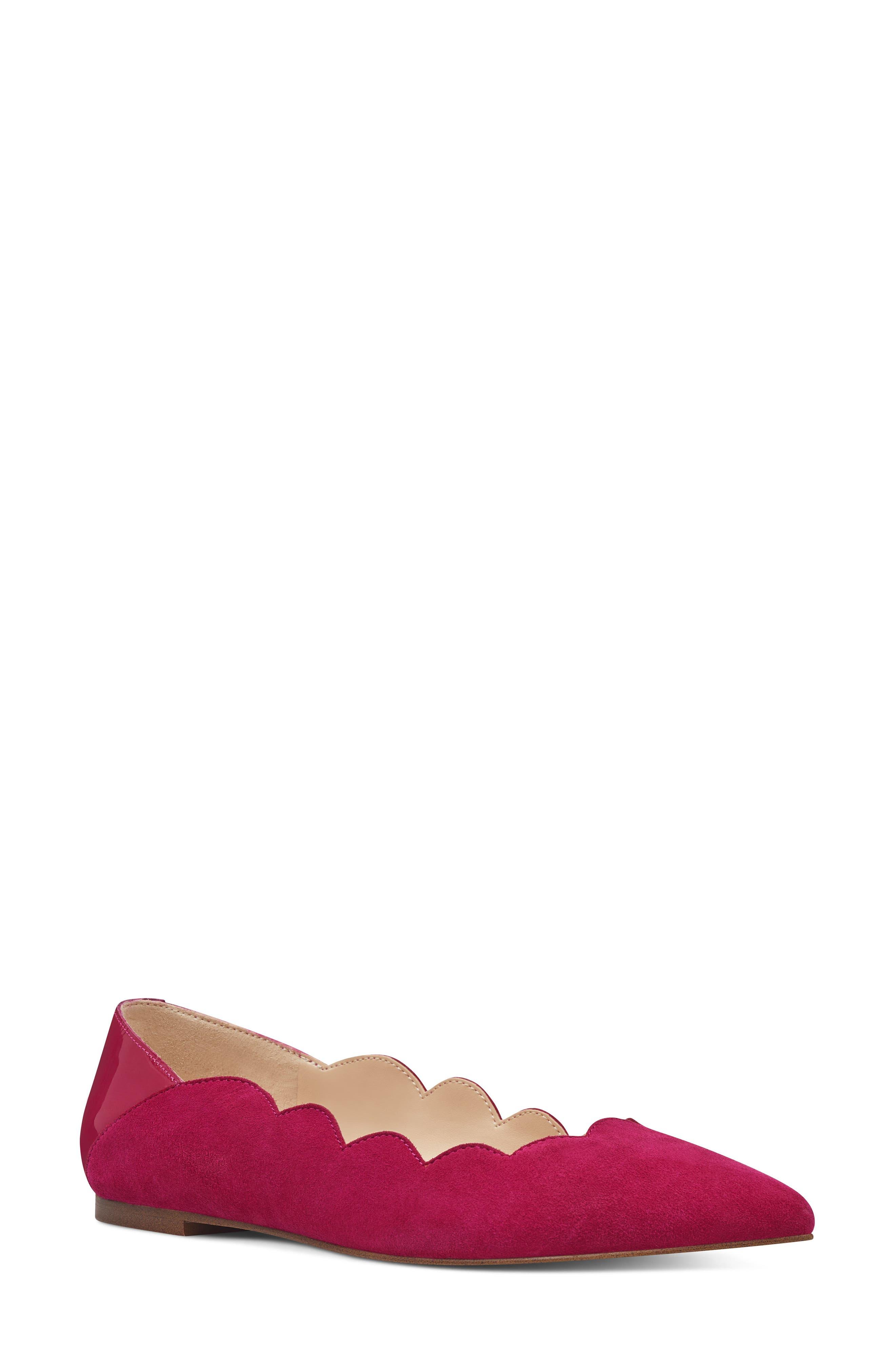 Nine West Ansley Scalloped Pointy Toe Flat, Pink
