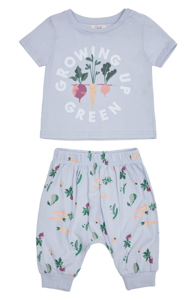 PEEK ESSENTIALS Drew Growing Graphic Tee & Pants Set, Main, color, GREY