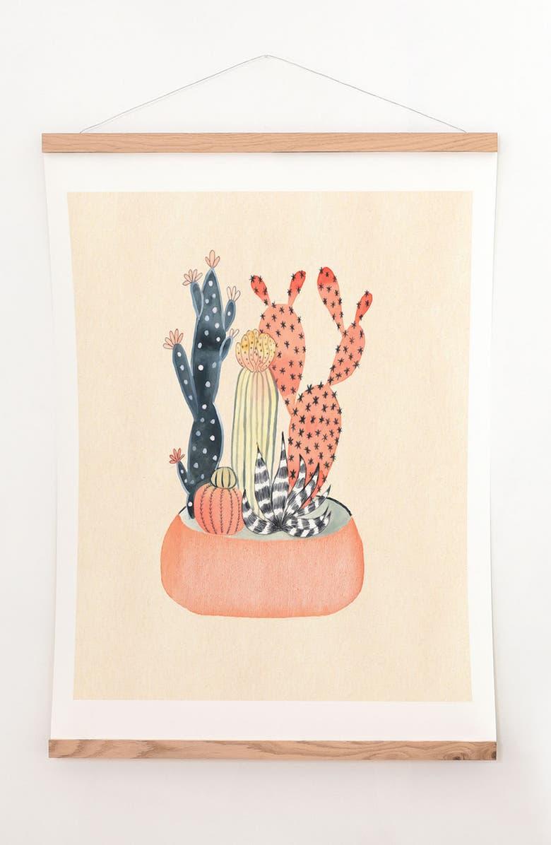 DENY DESIGNS Cactus Print & Oak Hanger, Main, color, MULTI