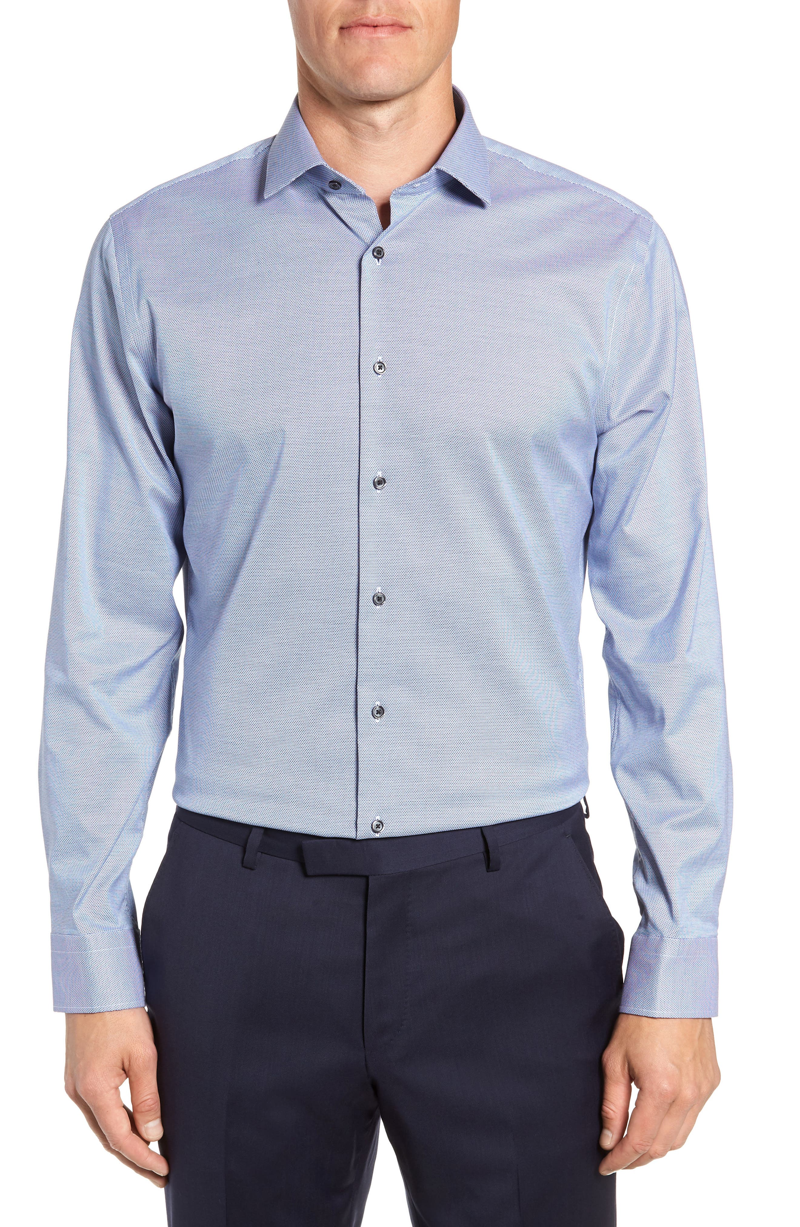 Image of CALIBRATE Trim Fit Stretch No-Iron Solid Dress Shirt