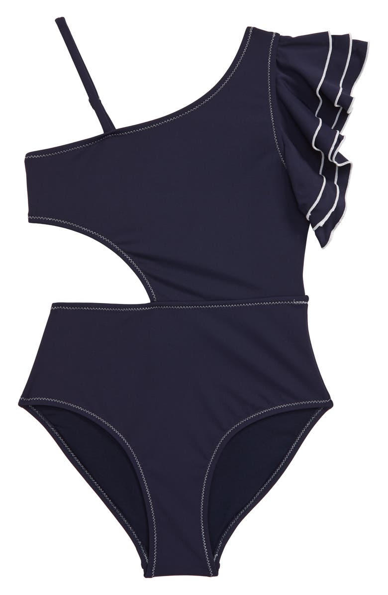HABITUAL GIRL Habitual Ruffle One-Shoulder Swimsuit, Main, color, NAVY