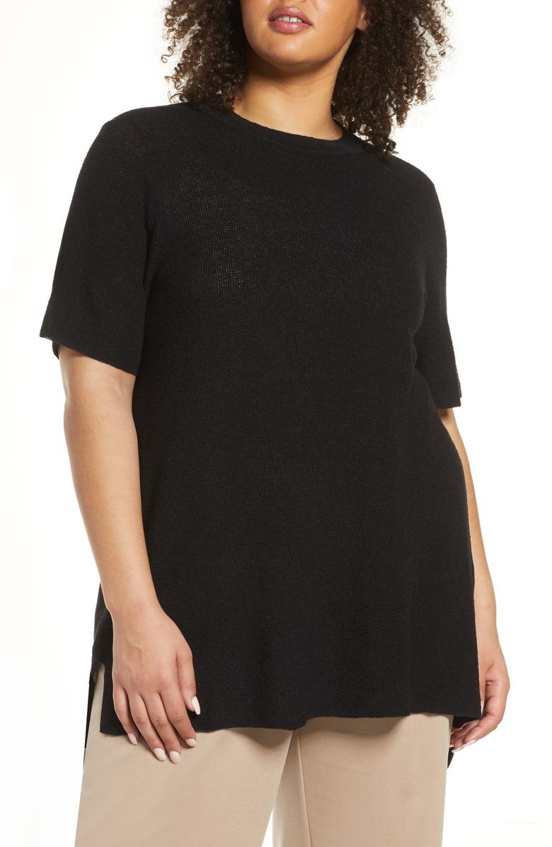EILEEN FISHER Organic Linen Blend Tunic Sweater, Main, color, BLACK