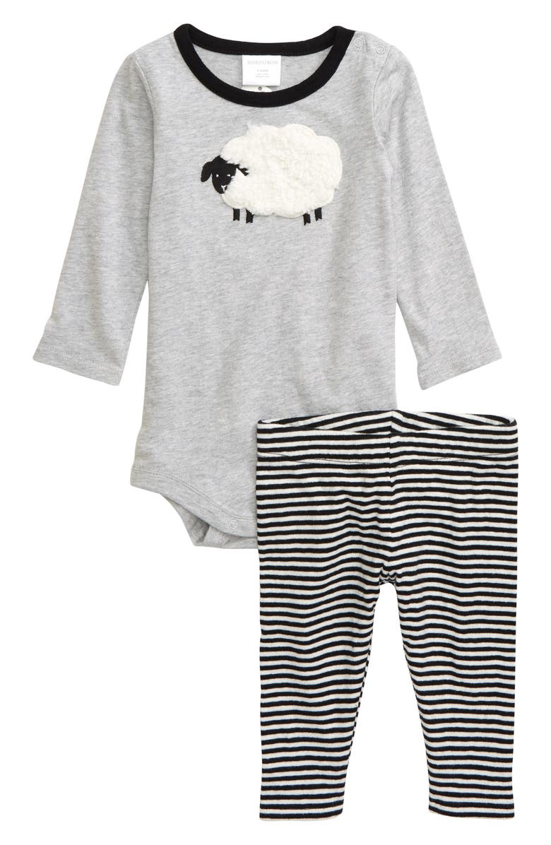 NORDSTROM BABY Appliqué Bodysuit & Leggings Set, Main, color, GREY ASH HEATHER SHEEP
